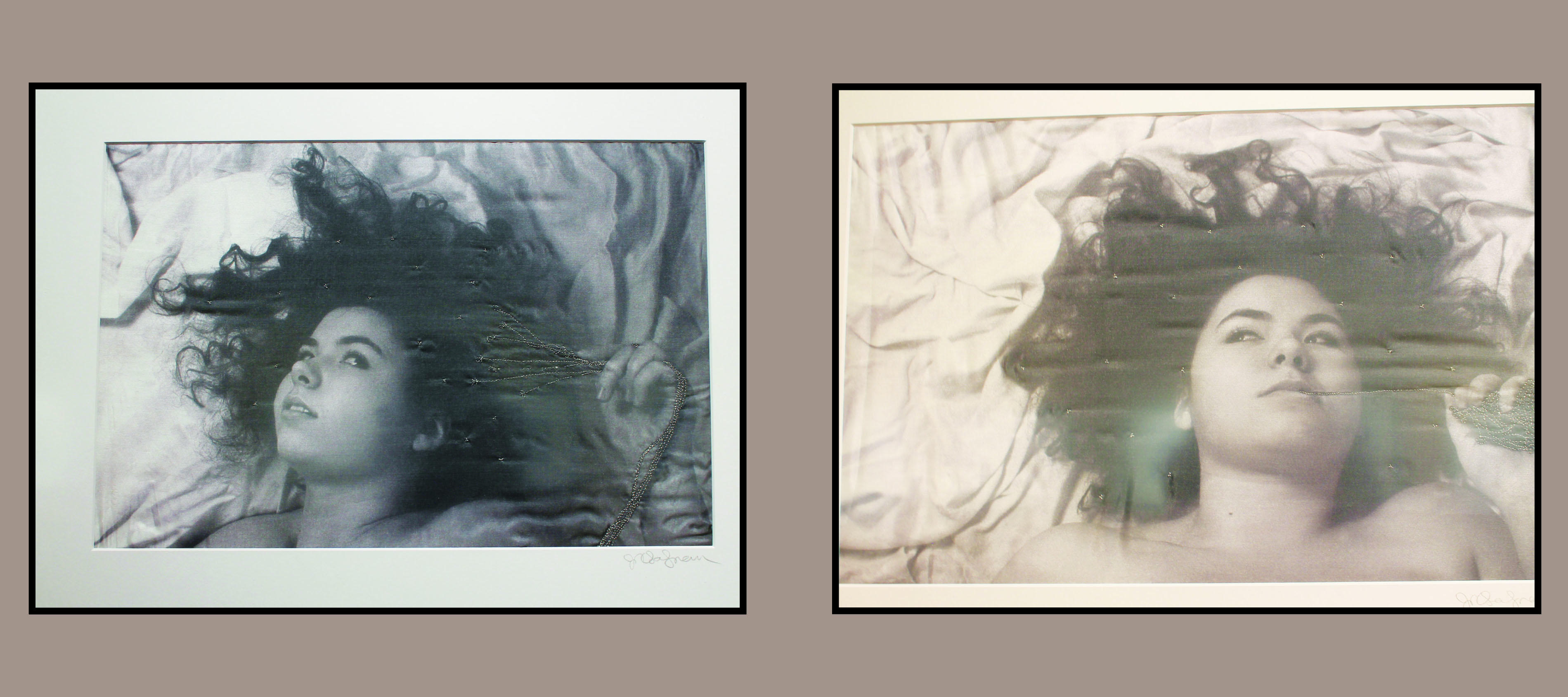 """Left: """"Collection of Thoughts"""" by Jennifer Salzman. Right: """"Contemplation"""" by Jennifer Salzman."""