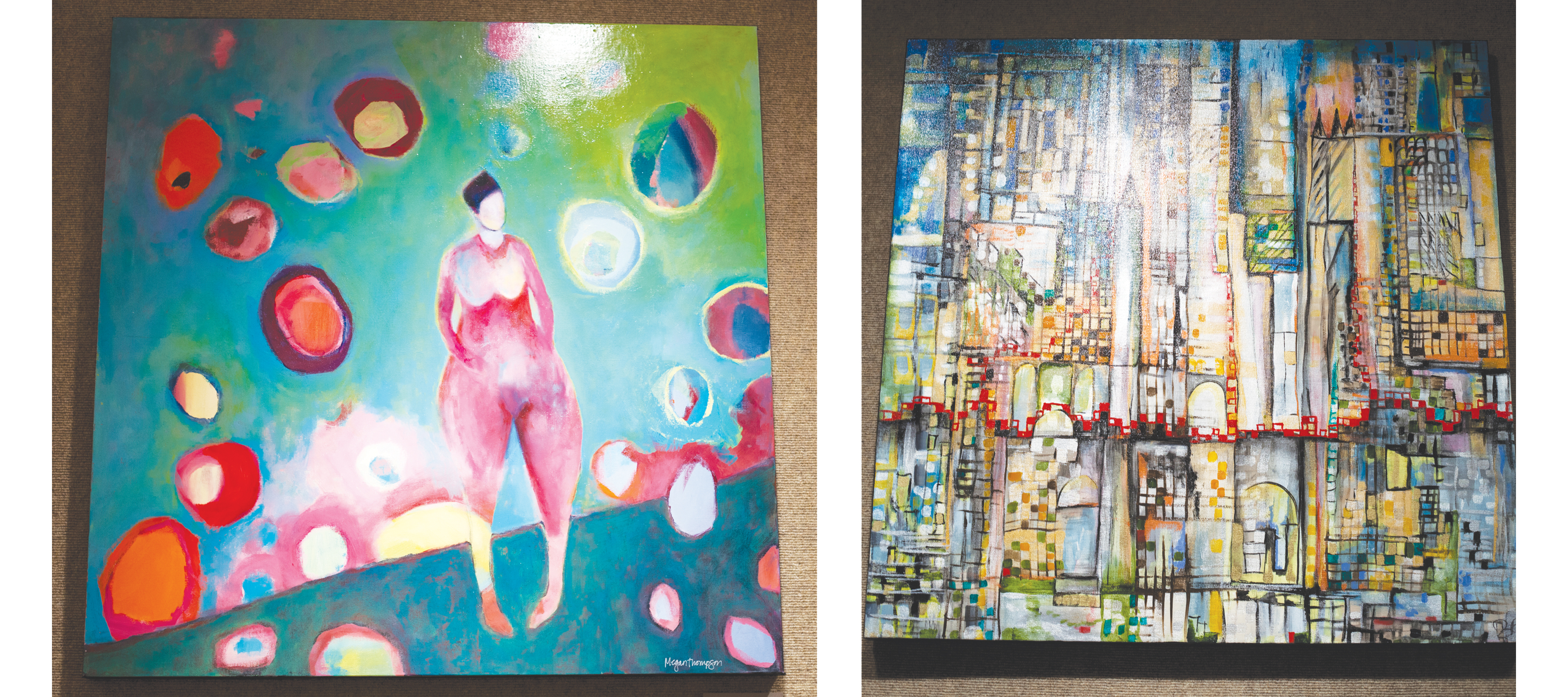 Left: Eltit by Zudo Nihn, Right: Wanderlust by Megan Thompson | Photos by Vince Domingo