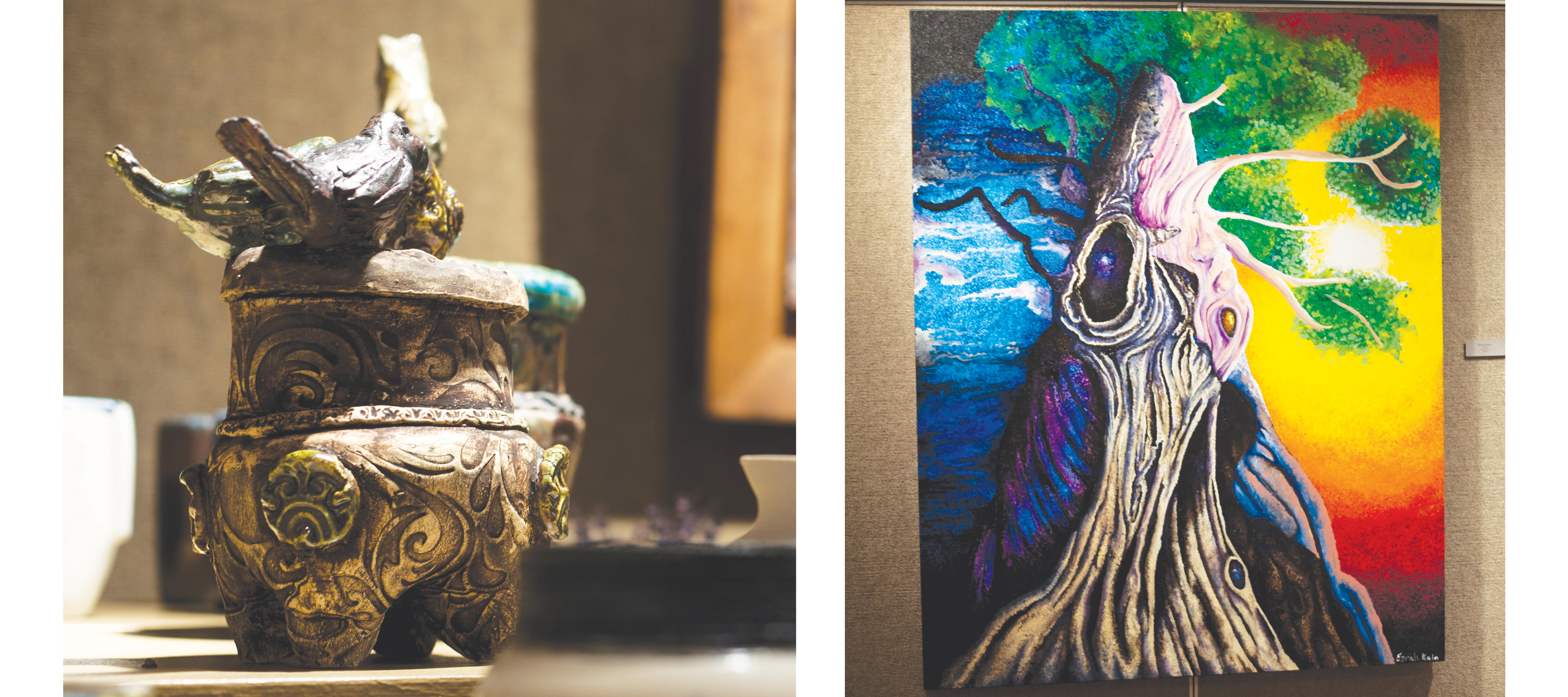 Left: Eltit by Zudo Nihn, Right: Duality by Ezrah Johnson | Photos by Vince Domingo