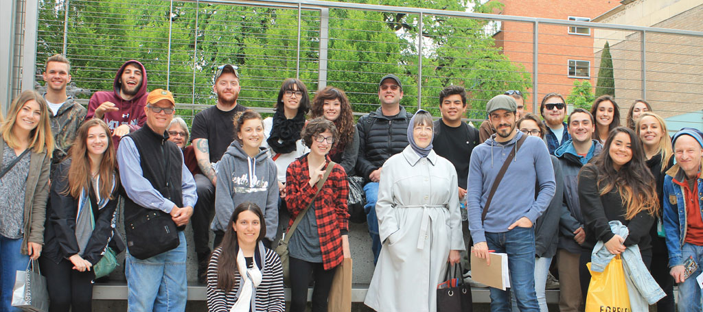 COCC and OSU students and faculty who participated in the Art Club's free trip to Portland stand in front of the Art Museum on April 23rd. Photo by Danielle Meyers | The Broadside
