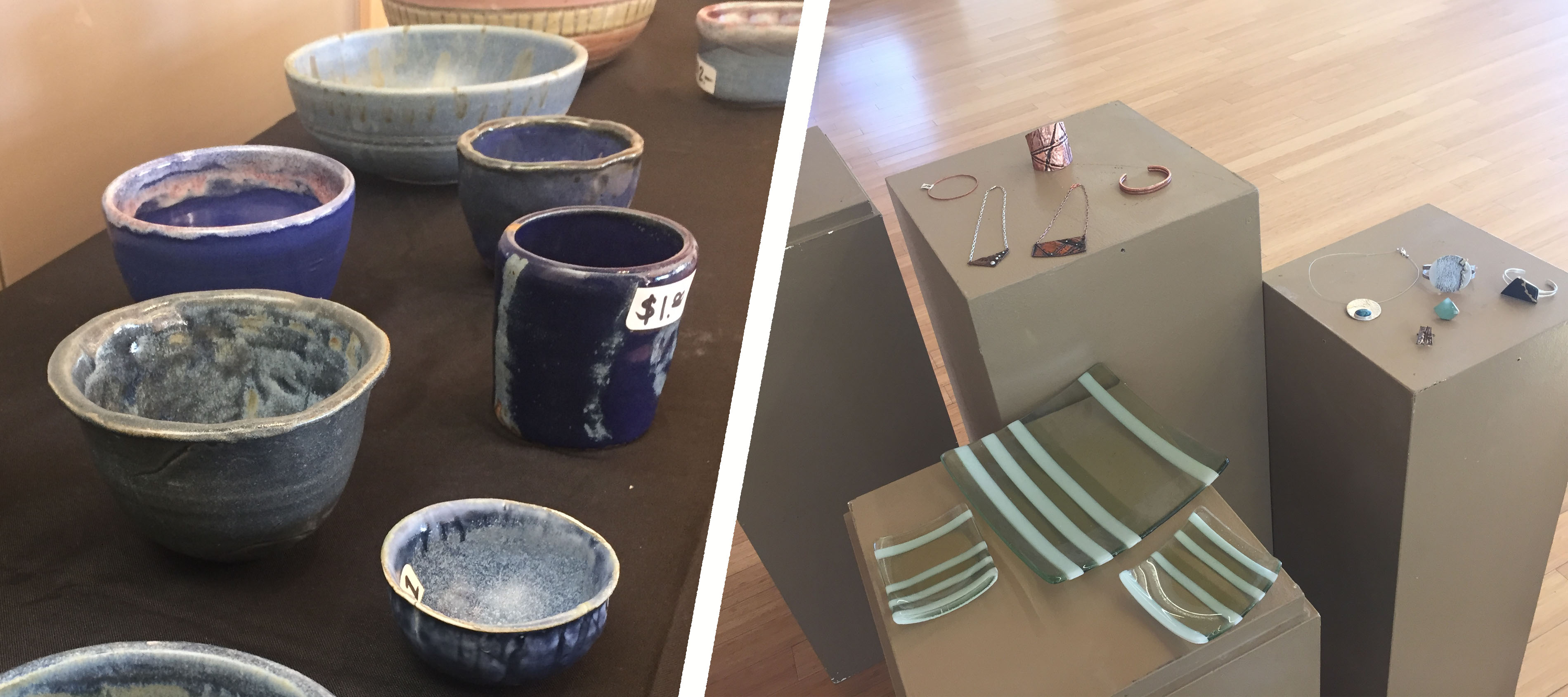 (left) Ceramic cups and bowls sold for $1-4. All products made by students. (right) Authentic jewelry items at show. Some sold for up to hundreds of dollars.