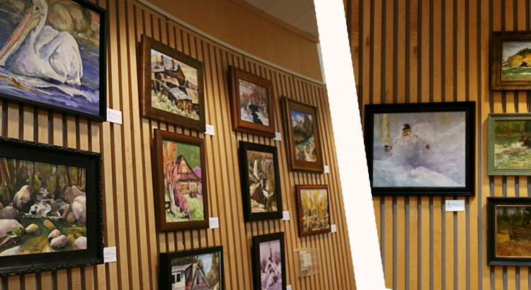 (Left) A portion of the art displays on the second floor of the Library Rotunda. (Right) Work of John O-Brian is presented together. Each piece pictured used oil paints as the medium.