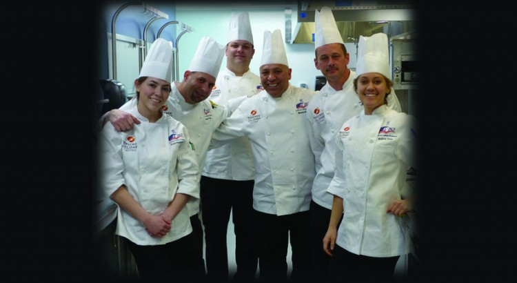 Culinary team, from left: Kiana Rodriguez, Damon Press, Dustin Christean, Moises Becerra, George Vassaur and Andrea Ramos-Pyne