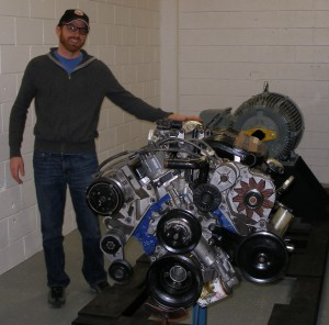 An internal combustion engine similar to one that will be used in the natural gas testing at COCC was set up by Research Project Manager and OSU-Cascades Alumnus Dusty Stewart. Photo submitted by Dusty Stewart