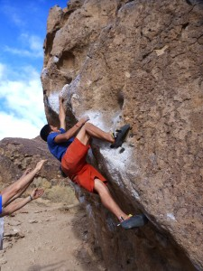 Ian Zatarian works a problem at the Happy Boulders near Bishop, California. Photo submitted by Ian Zatarian.