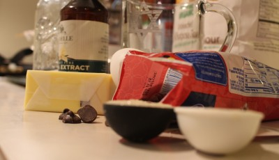 Ingredients from the grocery list to make homemade-style cookies in the microwave.  Photo by Vera Holiday   The Broadside.