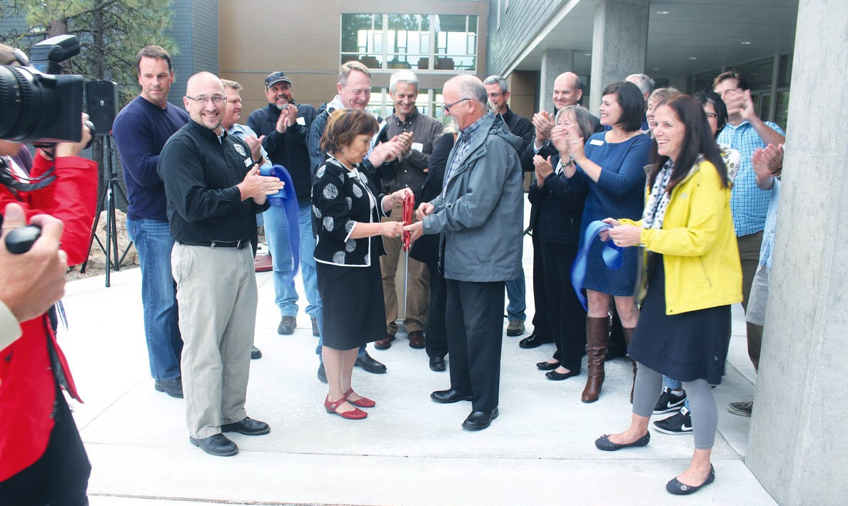 President Shirley Metcalf cut the ribbon on Sept. 14th, 2015, officially opening the new residence hall.